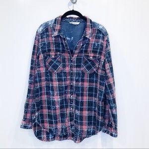 Tribal Jeans Bleached Flannel Shirt, Sz L